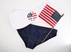 American flag monogram bikini. This couldn't be any more perfect.