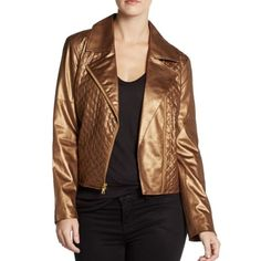 🎉HP🎉ELLEN TRACY FAUX LEATHER QUILTED MOTO JACKET Add this sizzling bronze jacket into your wardrobe to instantly turn up the heat on your edgy style.  Ellen Tracy's moto -inspired stunner features quilted faux-leather and zipper accents that elevate.   Metallic -Bronze color Notched collar Asymmetrical front zipper closure Long sleeves Zip pockets at sides Faux leather body with Quilted Panels at front Fitted Lined Hits at low waist; approx. 21-1/2 inches long Hand wash-- Wipe clean…