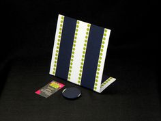 Fabric Magnetic Board - Lulu Stripe Navy Chartreuse Fabric - 8 x 8 Freestanding by rememorydesigns on Etsy
