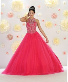 Halter Quinceanera & Sweet 16 Dress- - Duarte & Co. Sweet 16 Dresses, 15 Dresses, Nice Dresses, Fashion Dresses, Turquoise Quinceanera Dresses, Pretty Quinceanera Dresses, Pink Sweet 16, Tulle Material, Masquerade Ball Gowns