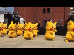 CUTE PIKACHU DANCING - YouTube | It's sooooo cute! But the one on the front left needs to step up his game lol