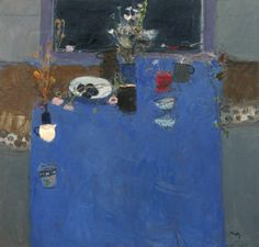 'Blue Table Cloth 1' by Scottish artist Sandy Murphy (b.1956). Oil on canvas, 40 x 42 in. source: The Panter & Hall Gallery. via Craft Town Scotland