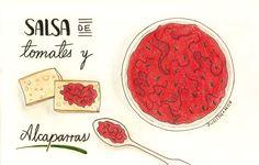 Salsa de tomates y alcaparras | Food Blogging Recetas Cocina Creativa Ilustración de comida Food Illustration