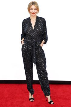 Cameron Diaz Proves You Don't Need A Dress To Look Fancy   #refinery29  http://www.refinery29.com/2014/07/71015/cameron-diaz-printed-jumpsuit#slide1  Lookin' fly.
