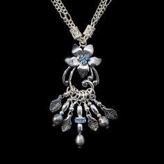 Blue Flower Necklace by SilverRosesJewelry on Etsy