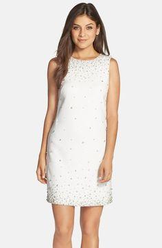 Eliza J Embellished Crepe Shift Dress available at #Nordstrom