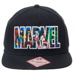 Marvel Text Logo Black Snapback Adult Embroidered Hat Cap in Clothing, Shoes & Accessories, Men's Accessories, Hats Black Snapback, Snapback Hats, Walking Dead Clothes, Comic Text, Marvel Clothes, Super Hero Outfits, Man Thing Marvel, Embroidered Hats, Geek Fashion