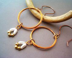 Circle Earrings Cognac enamelled Copper Wire - Handmade Copper Earrings - Copper Jewelry - wire wrapped Earrings handmade
