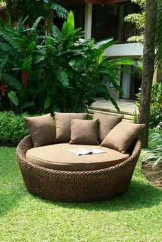 """Water Hyacinth Furniture    """"Love Seat""""    Quality Platted Water Hyacinth Love Seat imported from Bali.      Gorgeous platted water hyacinth love seat finished in a antique glaze.    Measures    165cm (w) x 165cm (d) x 85cm (h)     Includes 4 Scatter Cushions!    $995"""