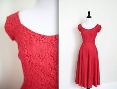 Vintage 1950's 50s Red Lace Party Dress Full Skirt XS Small