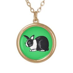 Black and White Dutch Rabbit with Green Necklace; Abigail Davidson Art; ArtisanAbigail at Zazzle