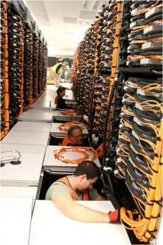 Behold, wiring at one of the world's largest computing centers. Cabling at the Lawrence Livermore National Laboratory would stretch for miles if strung end to end. #datacenter #technology