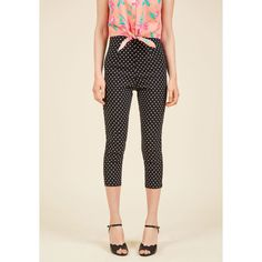 Hell Bunny Jive Got a Feeling Pants ($19) ❤ liked on Polyvore featuring pants, apparel, black, bottoms, pant, skinny pant, high waisted skinny pants, high waisted capri pants, vintage capri pants and high-waist trousers