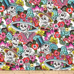 Alexander Henry Folklorico Dia de la Catrina Natural from @fabricdotcom  Designed by De Leon Design Group for Alexander Henry, this cotton print fabric is perfect for quilting, apparel and home decor accents. Colors include black, grey, blue, pink, red and green.