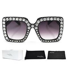 670b36f13be6 SamuRita Elton Square Diamond Rhinestone Sunglasses Novelty Oversized  Celebrity Shades(Black Frame Black Gradient Lens)