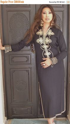 CIJ Sale Black Moroccan Caftan Kaftan Aisha by MaisonMarrakech