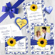 If royal blue and yellow are your wedding colors, this lovely suite by Wasootch is sure to be a hit! You can find the full set here: http://lemonleafprints.com/photo-wedding-invitation-sunflower-damask-royal-blue-yellow.html