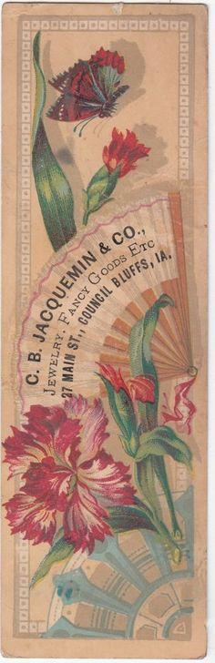 Ephemera ~C B Jacquemin & Co Jewelry Fancy Goods Council Bluffs Iowa Fan Victorian c 1880s