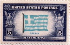 US postage stamp, 5 cents.  Greece.  Issued 1943.  Scott catalog 916.