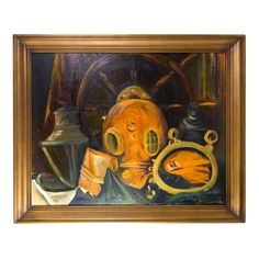 """Vintage Diving Helmet Nautical Painting with Ship's Wheel and Lantern, Large 34"""" Mid Century Wall Art Decor"""