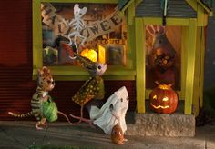 Maggie Rudy's mice trick or treating, with Halloween decorations