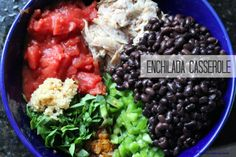 Crockpot-Enchilada Casserole.  Try as a freezer meal by assembling and freezing the meat/vegetable mixture. The day it's cooked will need the freezer mixture, enchilada sauce, tortillas & cheese to assemble in crock pot.