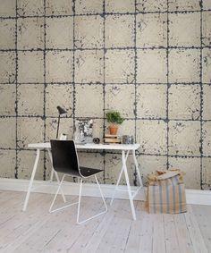 A favorite wallpaper from Rebel Walls, Tin Plates Nebraska! wallpaper Tin Plates Nebraska pictures antique ceiling tin tiles. #rebelwalls #wallpaper #wallmurals