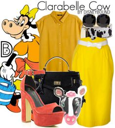 The classic Clarabelle Cow inspired this outfit that will make you moo with delight!    Disney Fashion   Disney Fashion Outfits   Disney Outfits   Disney Outfits Ideas   Disneybound Outfits  