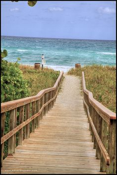 Delray Beach, Florida board walk to the ocean.