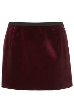 Bonded Velvet Mini Skirt