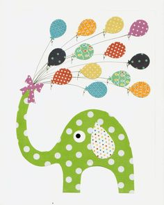Green Elephant Nursery Artwork Print // Baby Room Decoration // Kids Room Decoration // Gifts Under 20 on Etsy, $14.00