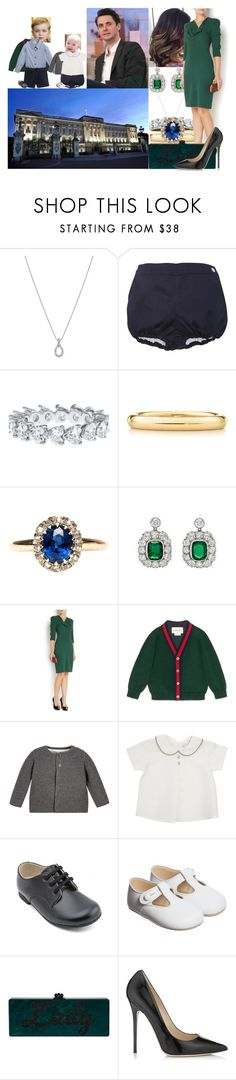 """Attending Freddie and Joanna's engagement dinner at Buckingham Palace"" by lady-maud ❤ liked on Polyvore featuring Harry Winston, Elsa Peretti, Alexander McQueen, Gucci and Jimmy Choo"