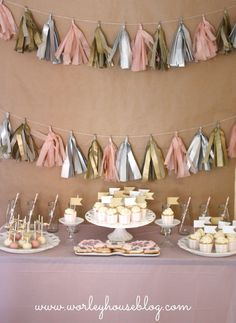Pink and Gold Girl's Birthday Party with Tassle Banner and Dessert Table