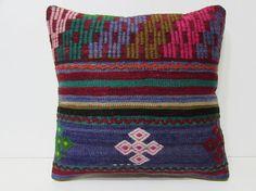 20x20 kilim pillow 20x20 blue decorative by DECOLICKILIMPILLOWS