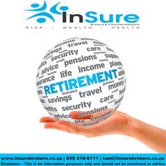 Retirement planning is key if you want to enjoy your retirement #INretirement Be sure to come and speak to our highly experienced and qualified staff at Insure Brokers Retirement planning consists of two phases.  Visit us our website for more info www.insurebrokers.co.za