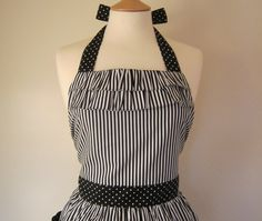 Retro apron with ruffles black and white striped by RosieAnnShop, £22.00