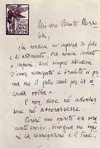 Gabriele D'Annunzio -Lettera originale inviata da  D'Annunzio a Mussolini