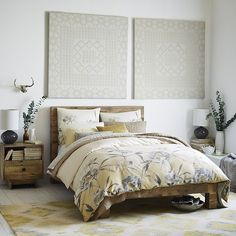 Our Flora Duvet Cover + Shams were inspired by a watercolor painted by one of our designers. Printed on cotton sateen, the border of blooms brings a luxe layer to the bed. Crushed Velvet Bedroom Ideas, Bedroom Sets, Bedroom Decor, Master Bedroom, Reclaimed Wood Beds, Basement Living Rooms, Fancy Houses, Bedroom Styles, Bed Spreads