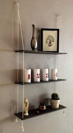 Bricoler - DIY : étagère balançoire- étagère suspendue. Rope Shelf - Swing Shelves - hanging shelves. Une semaine à Paris-Forêt