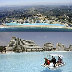 The world's largest pool is in Chile and hold 66 millions gallons of water. An average pool in the US is 20k gallons!