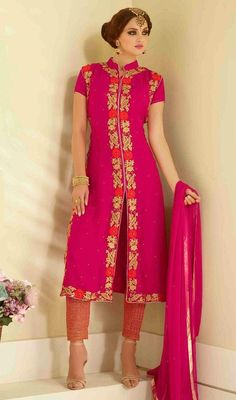 Add a dash of bling to your look with this magenta color georgette and chiffon embroidered pant style suit. This attire is en crafted with lace, resham and stones work. #straightembroidereddress #fushiapinkcolorsuit #straightsalwarkameez