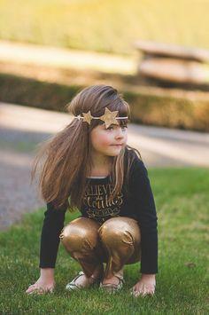Glitter star headband gold star headband by muffintopsandtutus