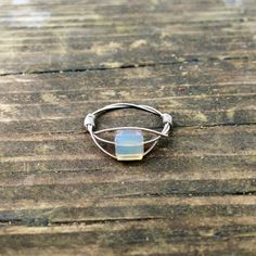Silver Opal Ring or Gold Opal Ring Guitar String Ring by LuckyStrings