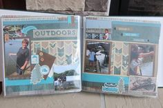 """Two Page """"Fishing"""" CTMH Timberline Paper and Complements plus Cricut Artbooking Layout www. Scrapbooking Layouts, Scrapbook Cards, Vacation Scrapbook, Gone Fishing, Memorial Gifts, Close To My Heart, Summer 2014, Scouts, Layout Design"""