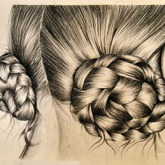 Braids in buns by Inese Auzina Compressed Charcoal, Charcoal Drawing, Art Boards, Buns, Braids, Illustration, Hair, Design, Bang Braids