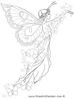 Fairy drawings to colour image detail for fairy coloring pages Fairy Coloring Pages, Printable Coloring Pages, Adult Coloring Pages, Coloring Books, Free Coloring, Fairy Drawings, Pencil Drawings, Butterfly Fairy, Fantasy Kunst