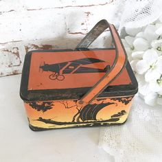 Rare Antique Airplane Train Tin Litho Pail Box w/ handle basket Transportation Boat Ship Lunchbox Cowboys Indians orange black Kitchen by WonderCabinetArts