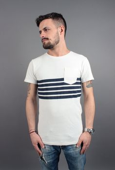 T-shirt in jersey pesante a righe 025ee2k019-e103