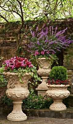 Shop Frontgate's collection of outdoor planters and garden urns to dress up your garden, terrace or entryway. These planters and terrariums make the perfect patio decor. Garden Urns, Lawn And Garden, Container Plants, Container Gardening, Flower Containers, Urn Planters, Planter Ideas, Outdoor Planters, Plantation