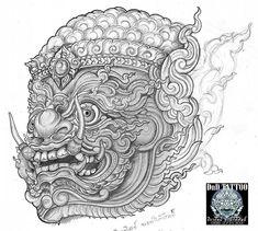 Khmer Tattoo, Thai Tattoo, Buddha Tattoo Design, Thailand Art, Barong, Skull Wallpaper, Tattoo Project, Thai Art, Illusion Art